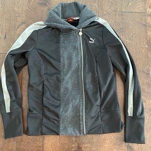 Puma jacket size large black and gray